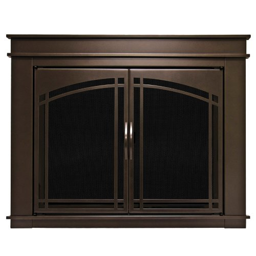 Pleasant Hearth FN-5702 Fenwick Fireplace Glass Door, Oil Rubbed Bronze, Large