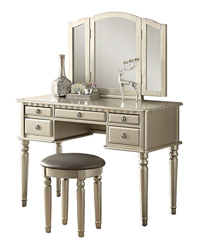 Poundex Bobkona St. Croix 3 Fold Mirror Vantiy Table with Stool Set in Silver