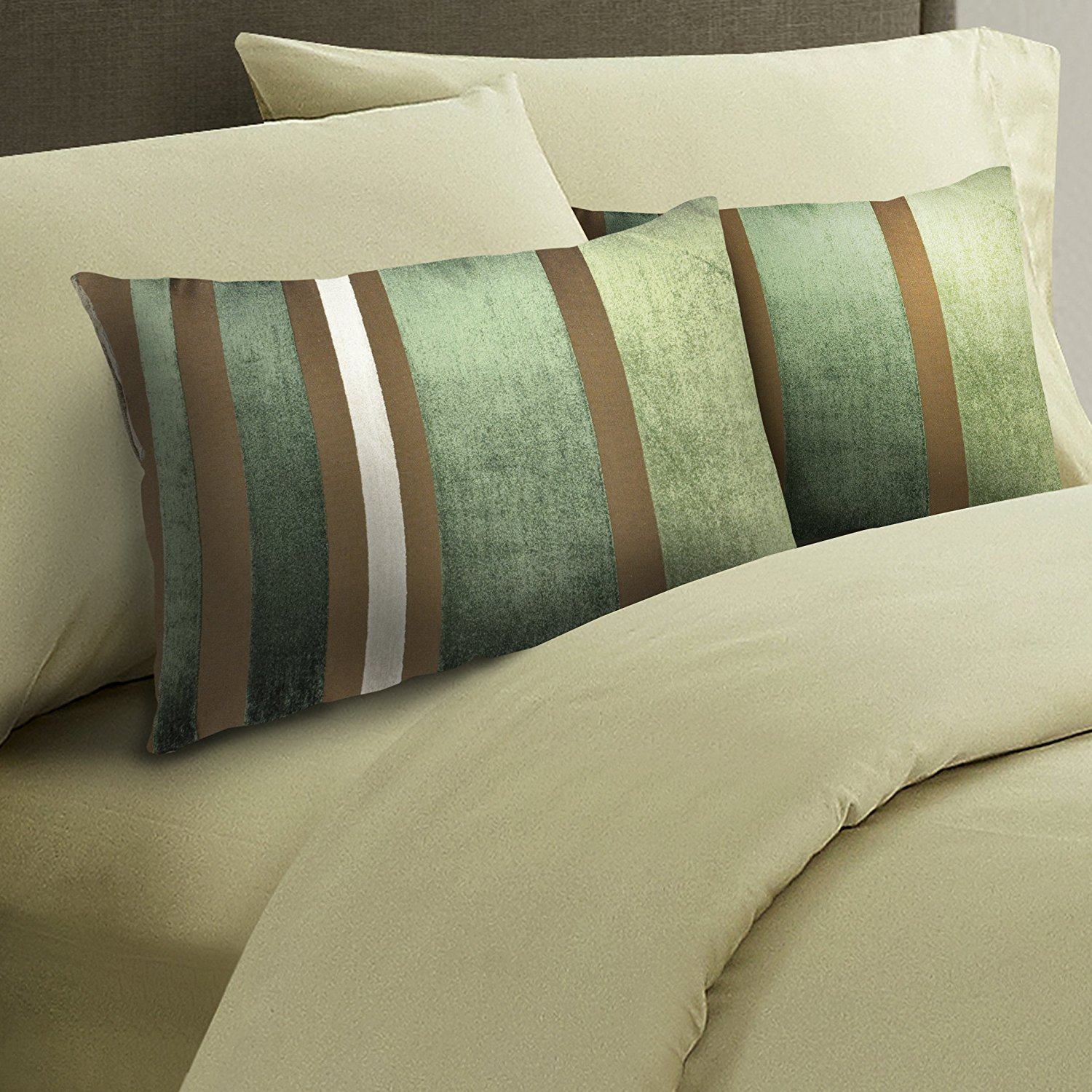 """Premium Decorative Throw Pillow 2-Pack – Unique Luxurious Design, Comfortable & Stylish Home Décor Accessory, Ideal 15""""X22"""" Dimensions, Easy To Clean & Durable Material (Green, Brown, Cream)"""