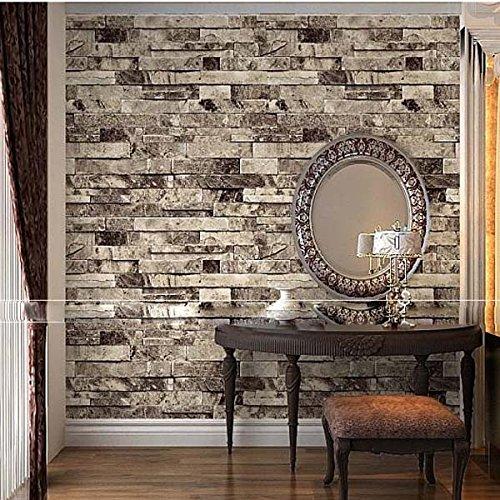 QIHANG Three-dimensional Wallpaper Brick Wall Wallpaper 3D Textured Bricks Gray Color