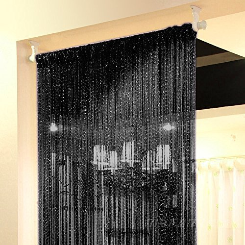 Topix 37.4x76.7 Inch Rare Flat Silver Ribbon Door String Curtain Thread Fringe Window Panel Room Divider Cute Strip Tassel Party Events, Black, Pack of 2