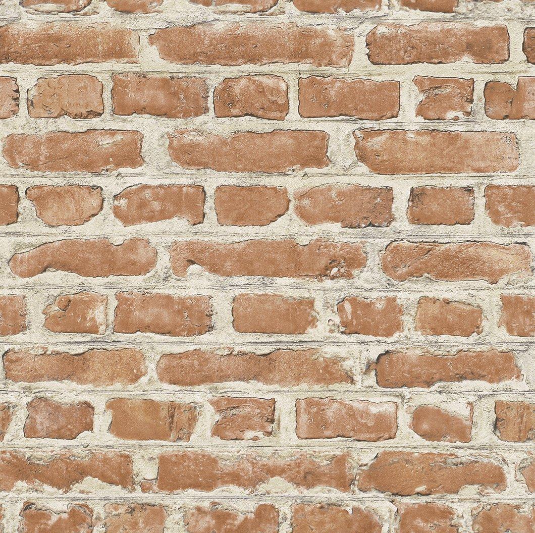 Red / Brown - 235203 - Brick Effect - Rasch Wallpaper