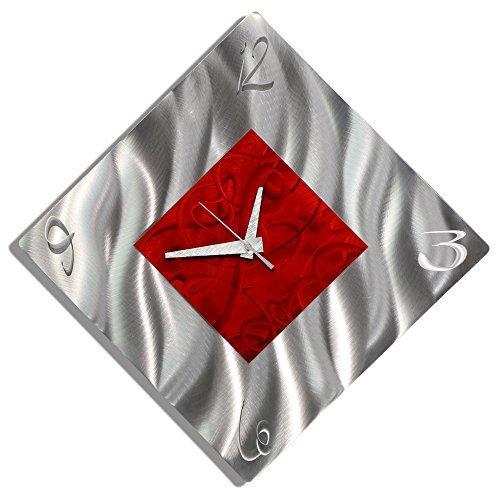 Red & Silver Contemporary Design Metal Wall Clock - Handmade Decorative Etched Modern Time Piece Art - Fresh Start Clock by Jon Allen