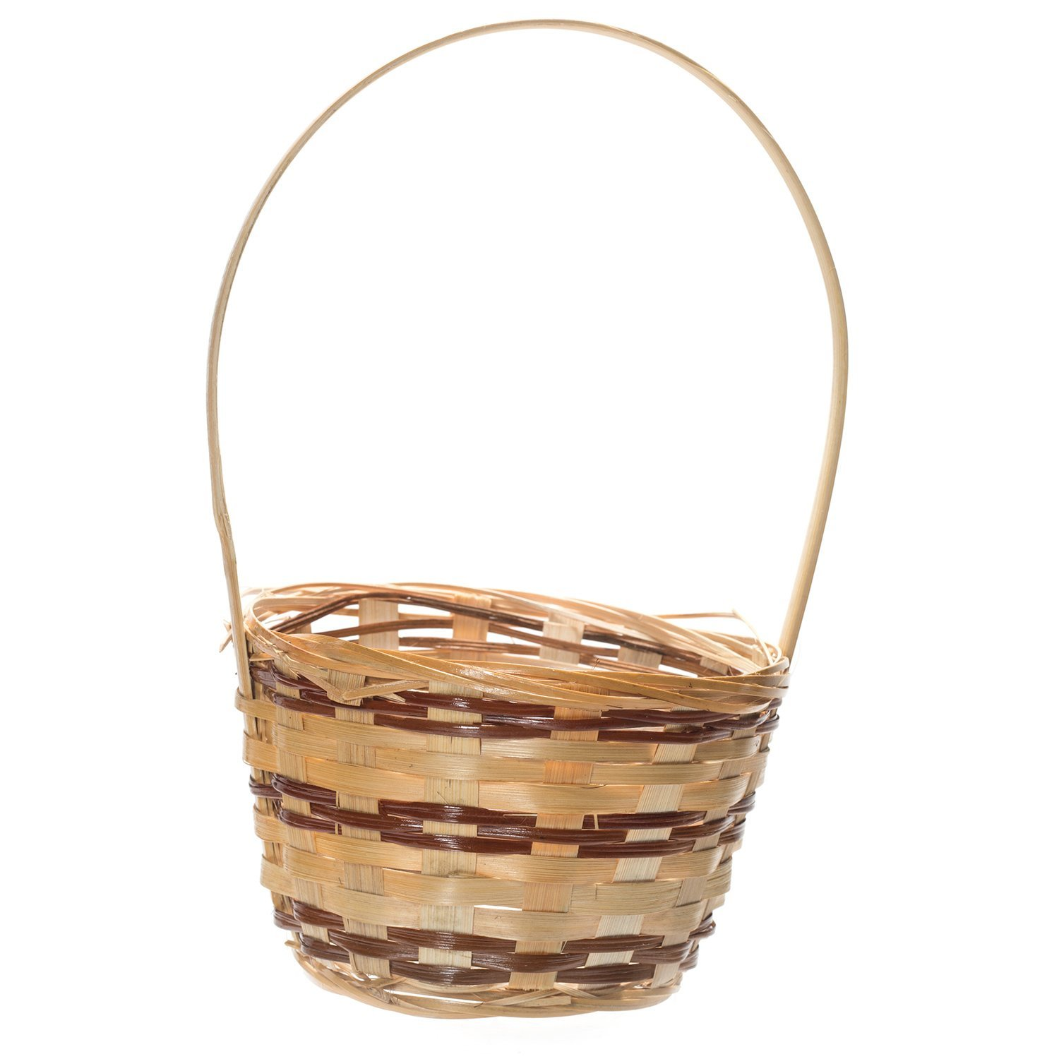 """6"""" Round Natural Wicker Handwoven Gift Arrangement, Fruit or Easter Basket - 4""""x6"""" with Handle (includes Plastic Insert Liner) by Royal Imports"""