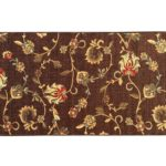 "Rubber Backed Mat 18"" x 32"" Chocolate Brown Floral Doormat Accent Non-Slip Rug - Rana Collection Kitchen Dining Living Hallway Bathroom Pet Entry Rugs RAN1228-12"