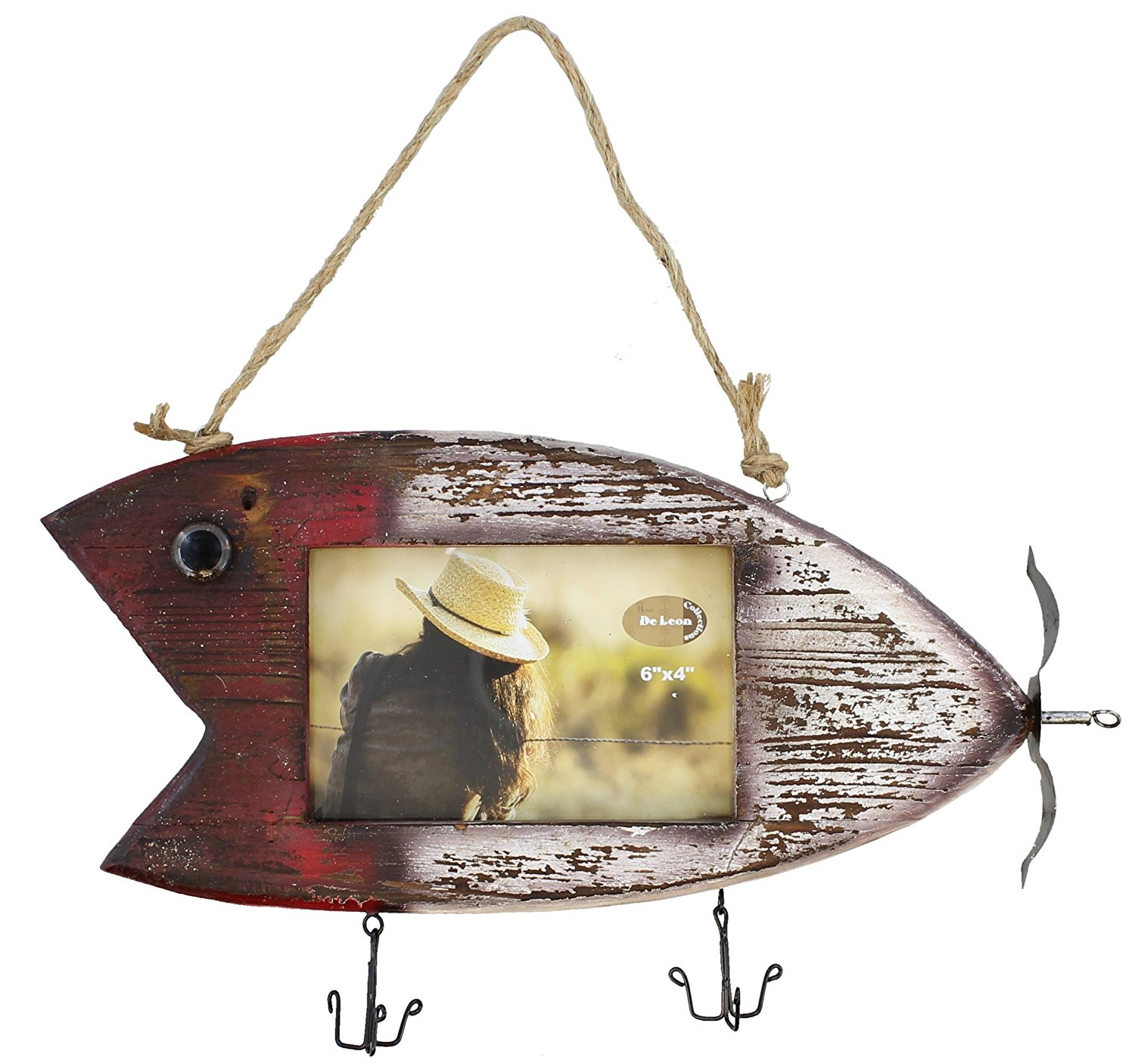 """Rustic Fishing Lure Barnwood Picture Frame 4"""" X 6"""" Photo"""