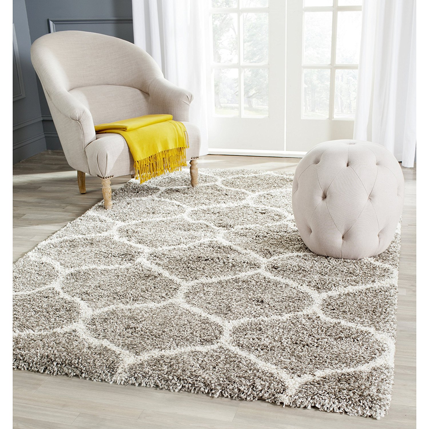 Safavieh Hudson Shag Collection SGH280B Grey and Ivory Area Rug, 4 feet by 6 feet (4' x 6')