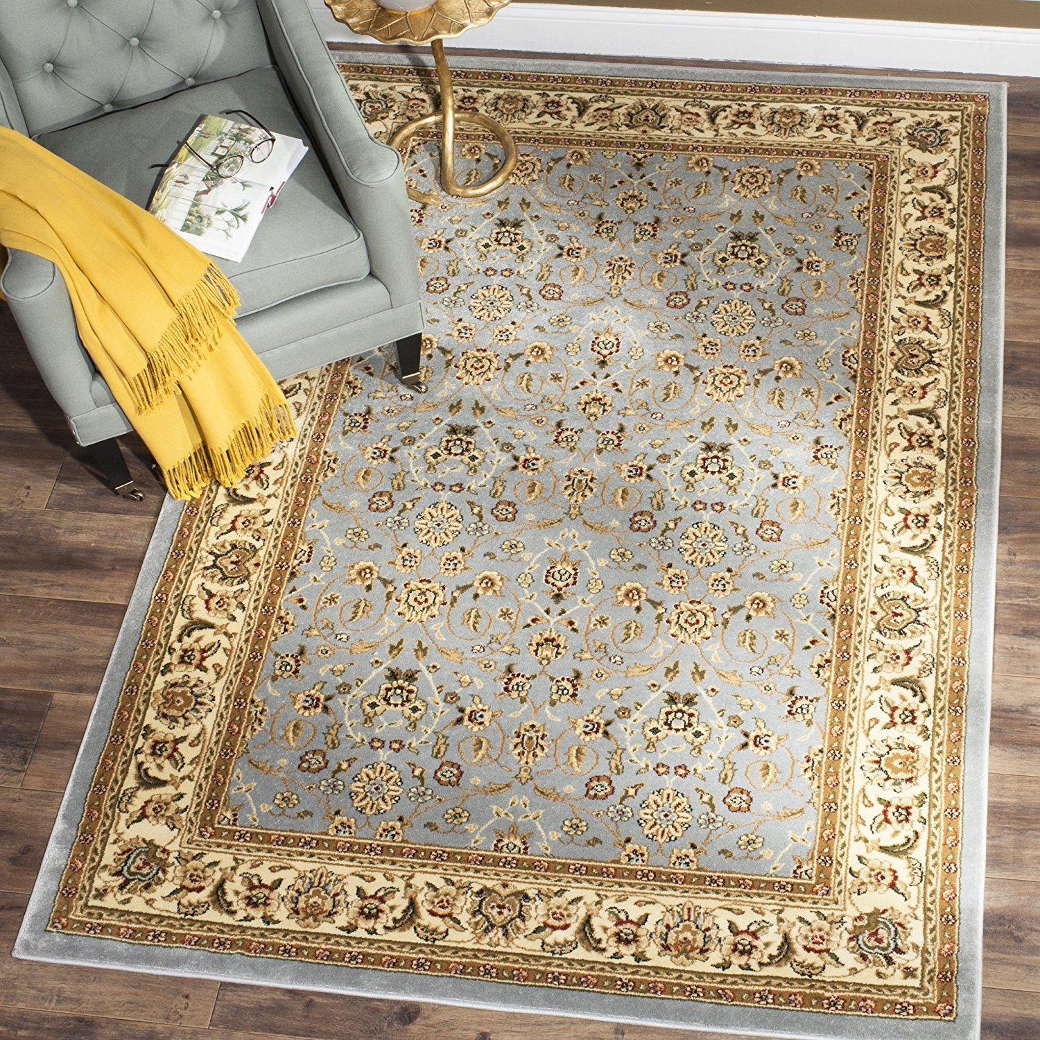 Safavieh Lyndhurst Collection LNH312B Traditional Oriental Light Blue and Ivory Area Rug (8' x 11')