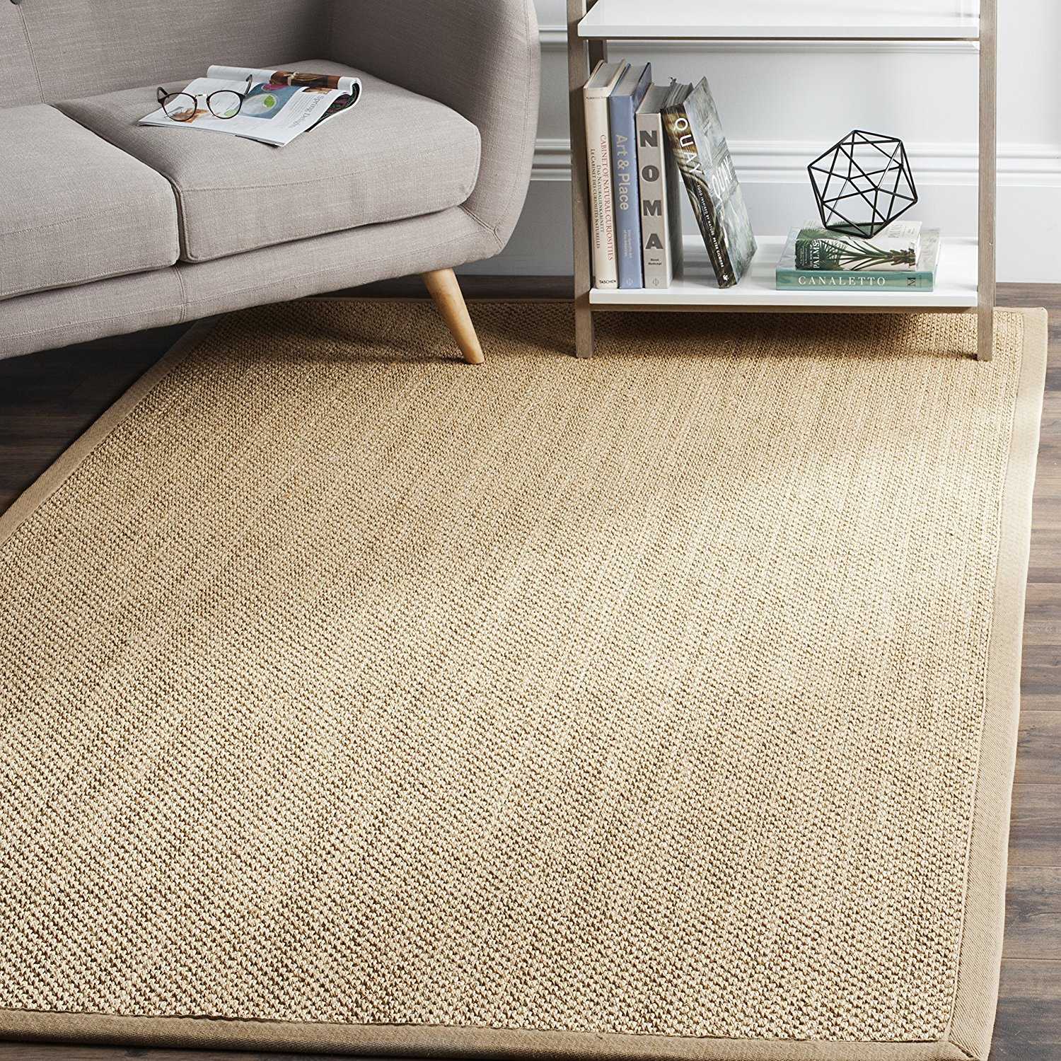 Safavieh Natural Fiber Collection NF141B Tiger Paw Weave Maize and Linen Sisal Area Rug (6' x 9')