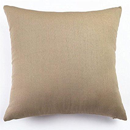 "Set of 2 - Cotton Linen Decorative Throw Pillow Covers (18"" X 18"", Khaki)"