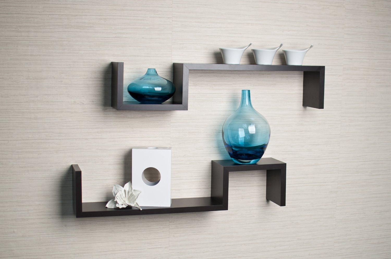 "Set of 2 Espresso Color ""S"" Wall Mount Shelves"