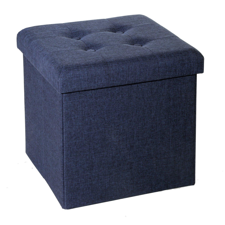 Seville Classics Foldable Tufted Storage Ottoman, Midnight Blue