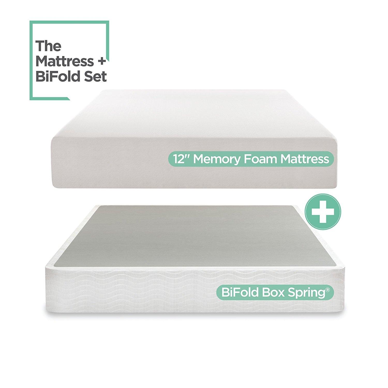 Sleep Master 12-Inch Memory Foam Mattress Set with Bi-Fold Boxspring, Full