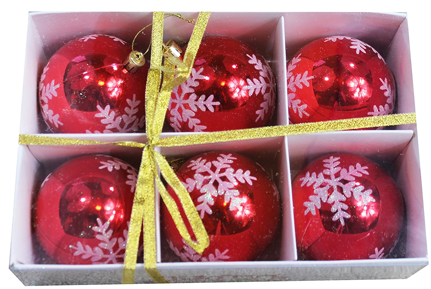 """Snowflake Shatterproof 3.15"""" (80mm) Christmas Ball Ornaments/Decorations - Set of 6 with Storage Box"""
