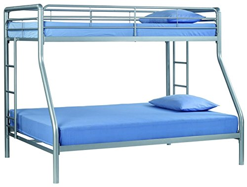 Sturdy Kids Sturdy Twin Over Full Metal Bunk Bed with Stairs. This Durable Steel Frame Bunk Bed For Kids includes full-length guardrails, and the bunk bed does not need a box spring. (Metal)
