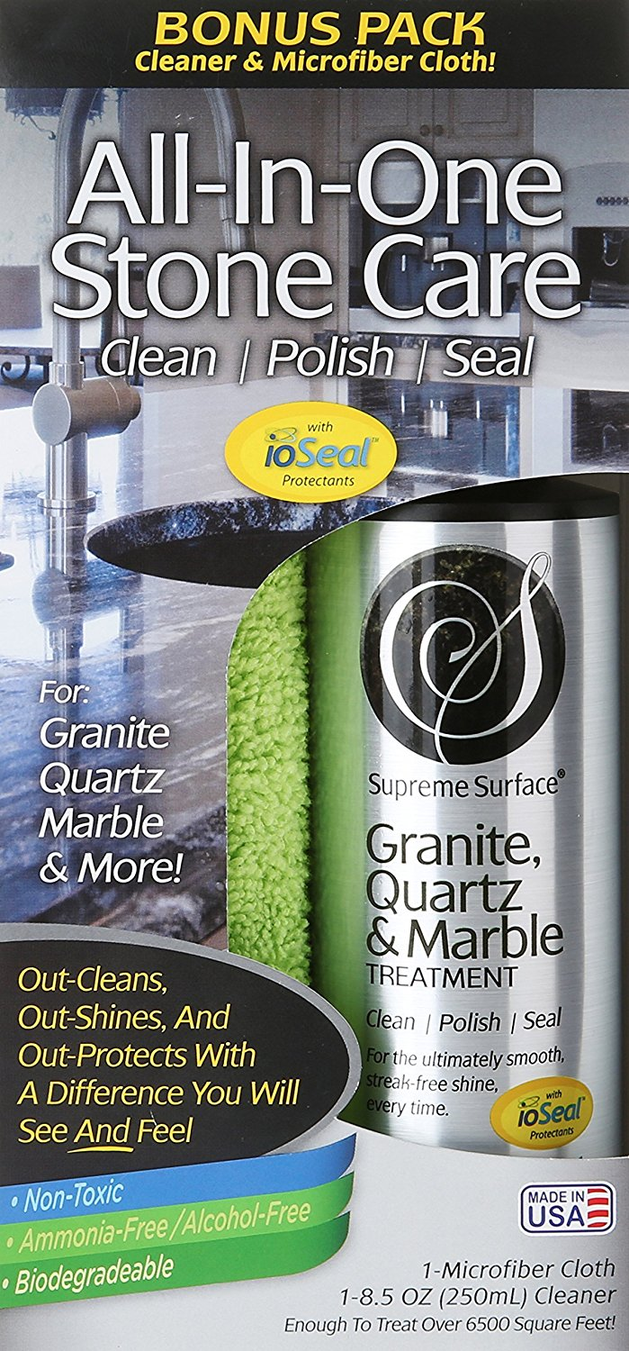 Supreme Surface Granite & Quartz, Cleaner, Polish and Sealer with ioSeal Protectants