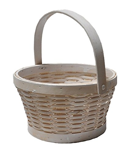The Lucky Clover Trading Woodchip Swing Handle Basket, Small, White