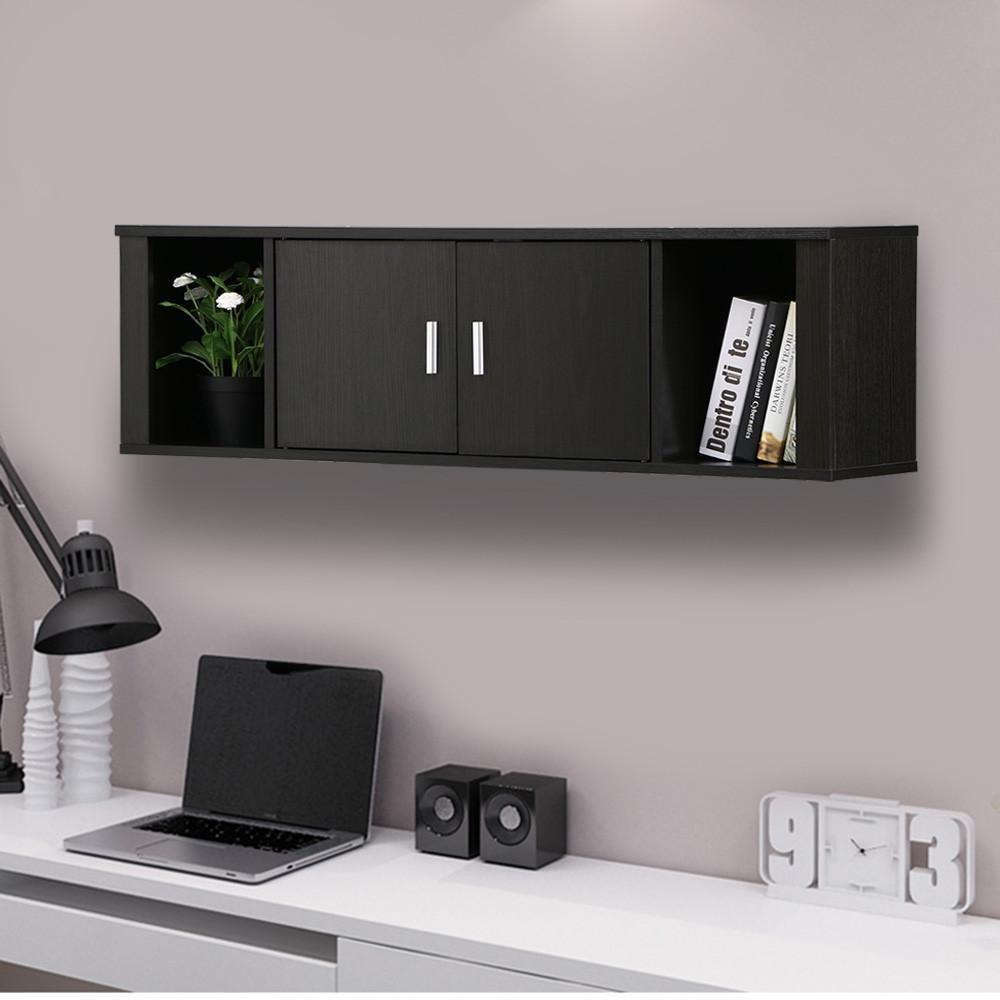Topeakmart Wall Mounted Floating Media Storage Cabinet Hanging Desk Hutch 2 Door & Compartment Home Office Furniture ( Black )