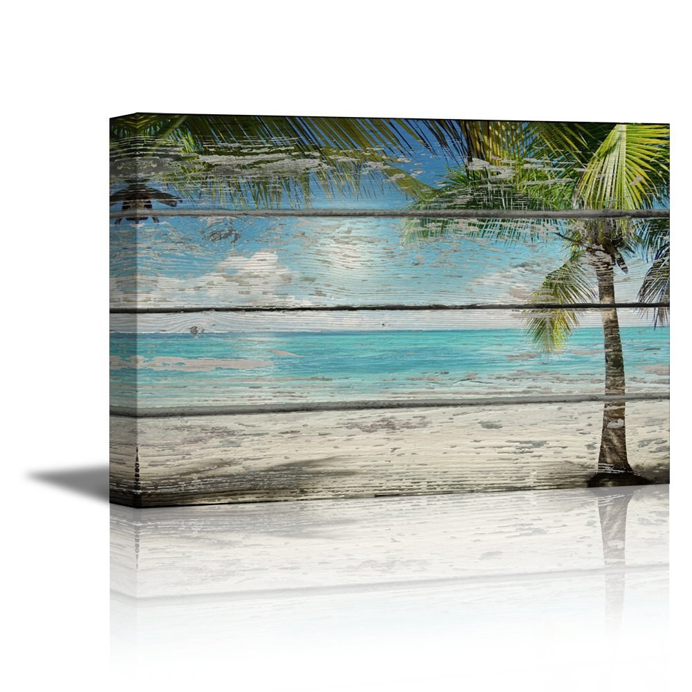 "wall26 - Canvas Prints Wall Art - Tropical Beach with Palm Tree on Vintage Wood Background Rustic Home Decoration - 24"" x 36"""