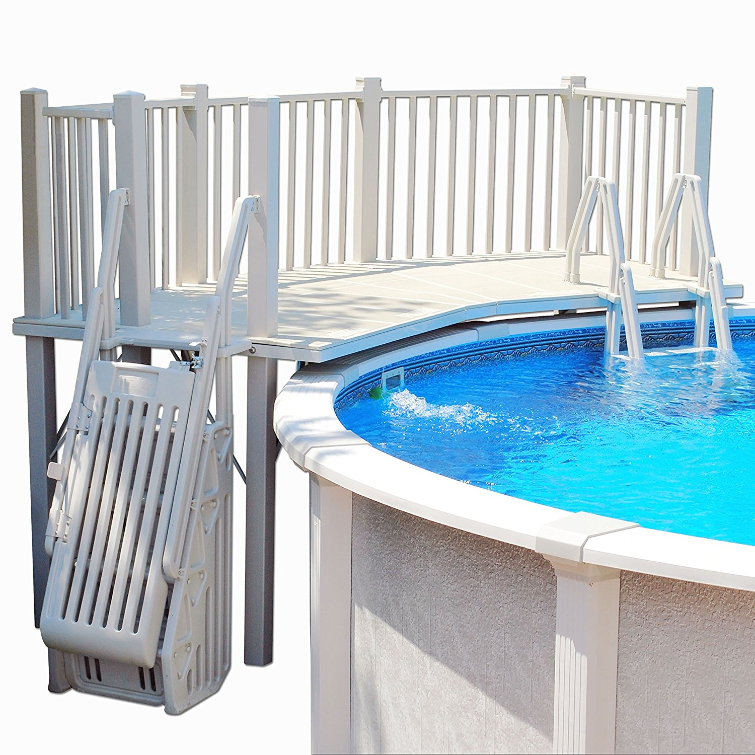 Vinyl Works Above Ground Swimming Pool Resin Deck Kit - Taupe 5 x 13.5 Feet