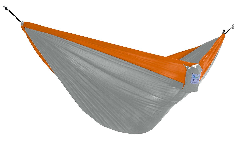 Vivere Parachute Nylon Double Hammock, Grey/Orange