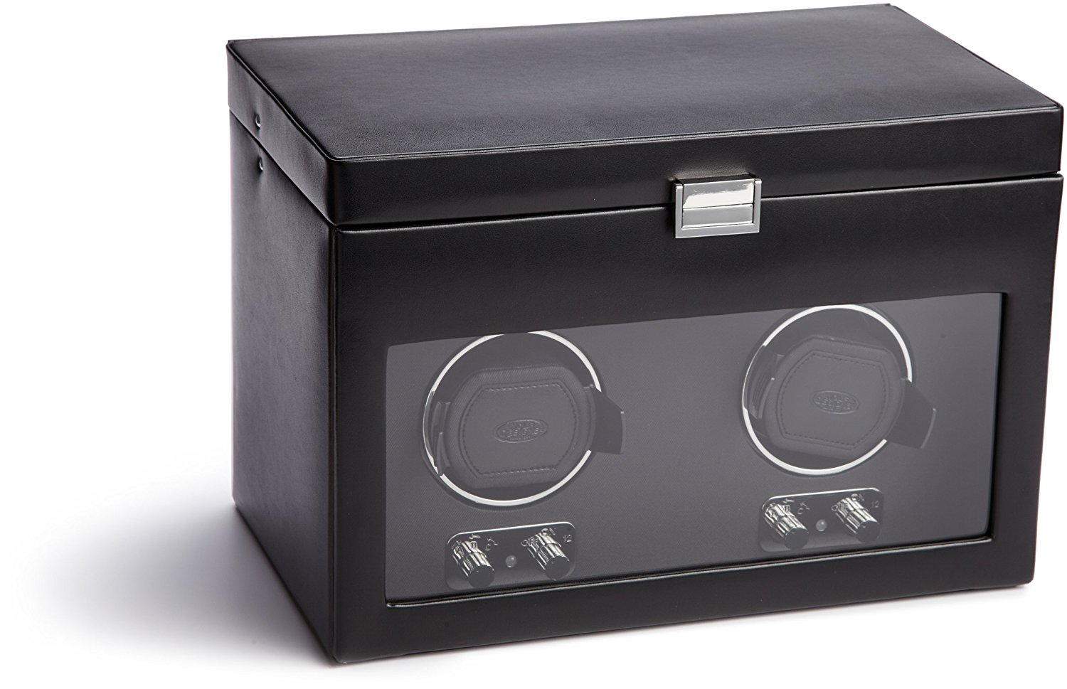WOLF 270402 Heritage Double Watch Winder with Cover and Storage, Black