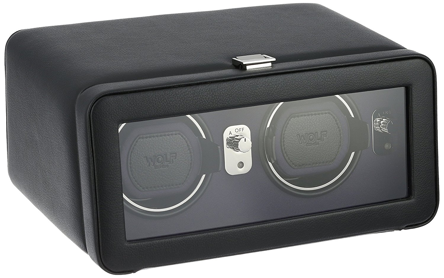 WOLF 452603 Windsor Double Watch Winder with Cover, Black