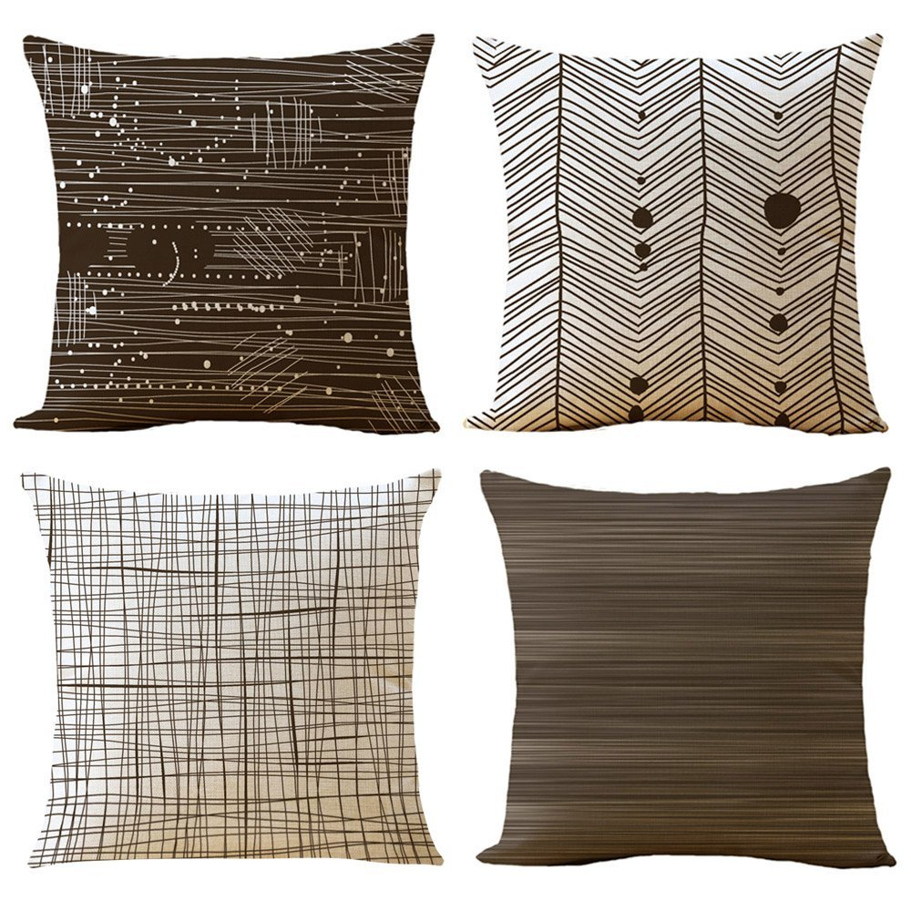 """WOMHOPE 4 Pcs - 16.5"""" [Just Pillow Covers] Brown & Tan Geometric Stripe Printing Cotton Linen Throw Covers Throw Pillow Covers Square Cushion Covers Pillowcase for Couch,Sofa (E Set of 4)"""
