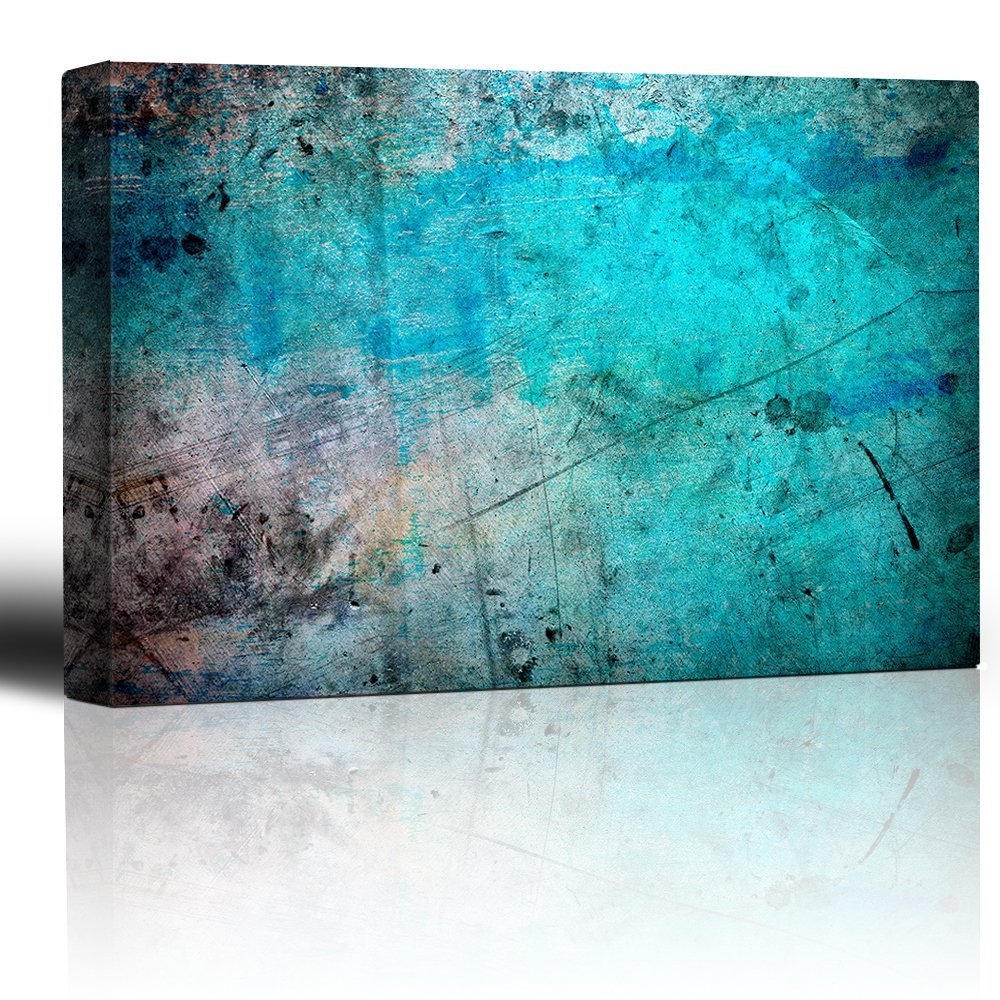 Wall26 - Blue and Splatter Ink Watercolor Paint Background - Giclee Print Abstract Canvas Wall Art Rustic Home Decor - 16x24 inches