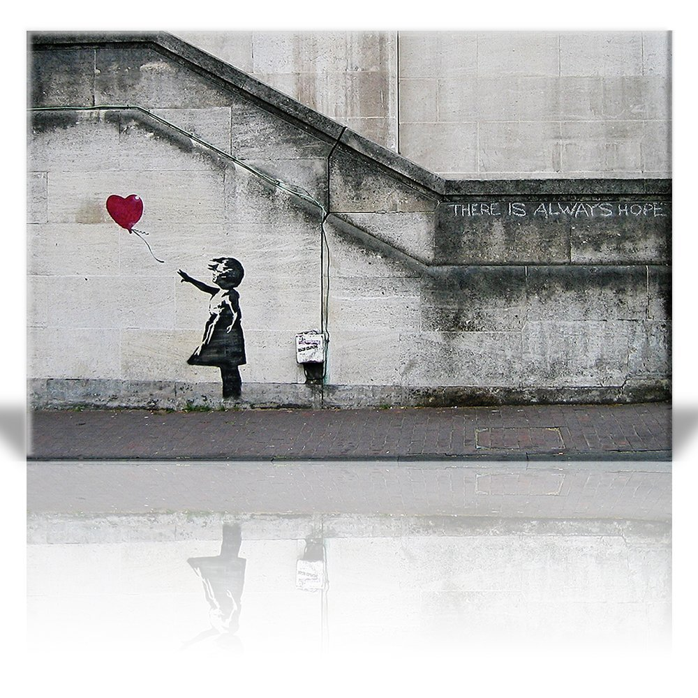 Wall26 Canvas Print Wall Art - There is always hope - Girl and red heart balloon - Street Art - Guerilla - Banksy Street Artwork on Canvas Stretched Gallery Wrap. Ready to Hang - 24 x 36 inches