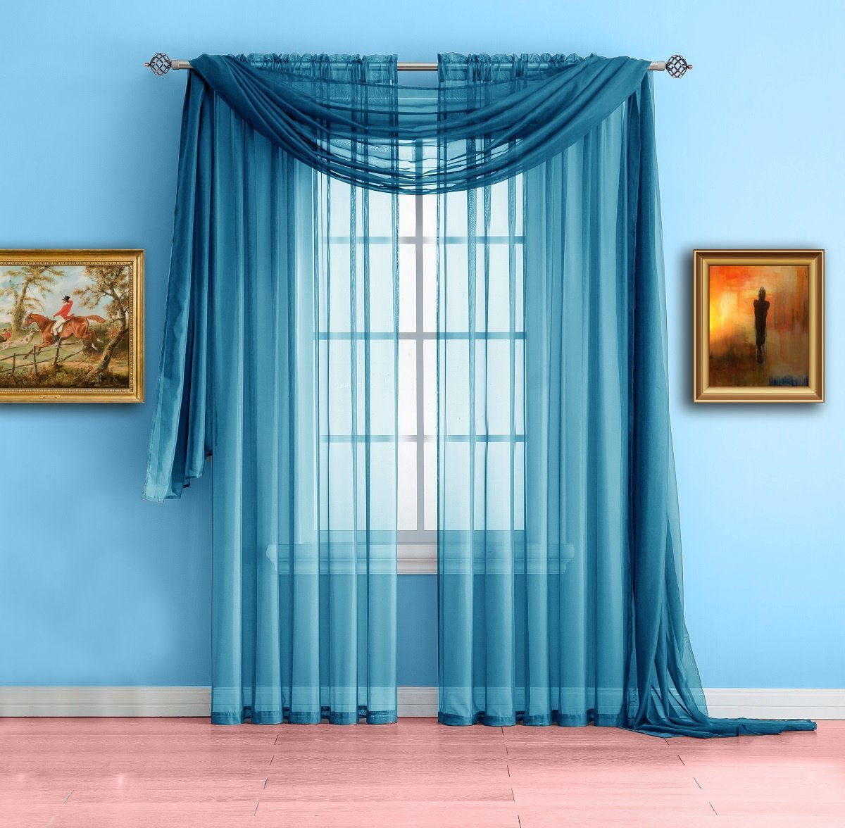 """Warm Home Designs Turquoise Blue Sheer Window Curtains. Each Voile Drape Is 56 X 63 Inches. Great for Kitchen, Living Room, Kids Bedroom or Office. 2 Fabric Panels Per Package. Color: Turquoise 63"""""""