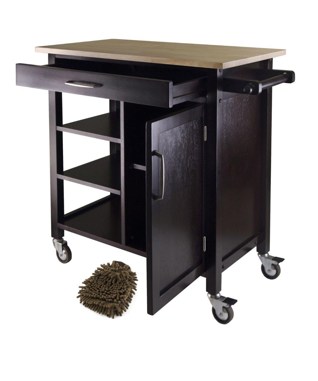 Winsome Mali Kitchen Cart Island (Complete Set) w/ Bonus Premium Microfiber Cleaner Bundle