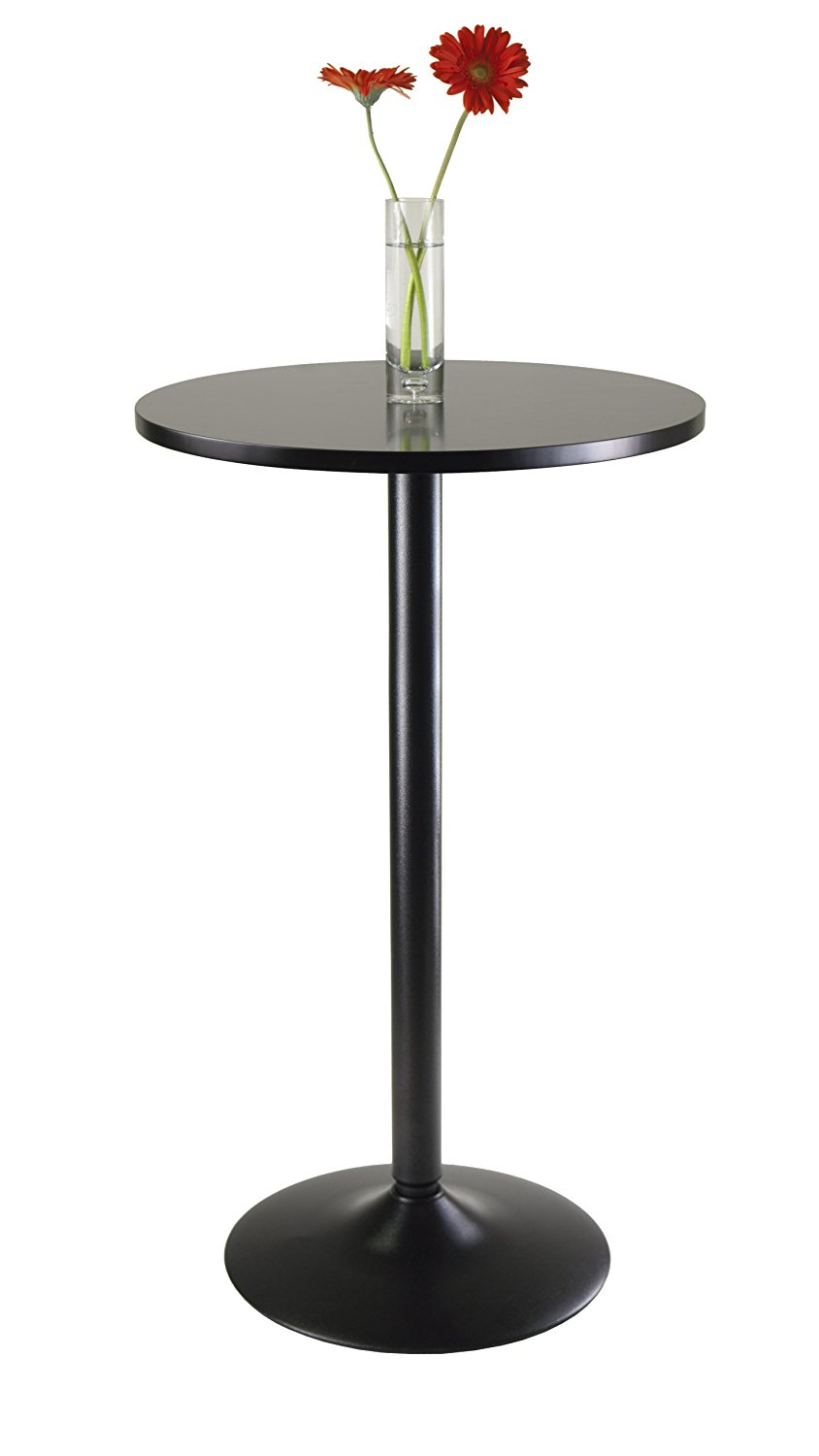 Winsome Obsidian Pub Table Round Black Mdf Top with Black Leg And Base - 23.7-Inch Top, 39.76-Inch Height