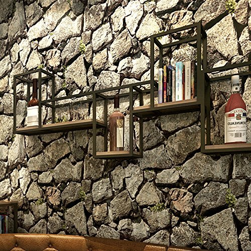 """Yancorp Stone Nostalgic Wallpaper Countryside Style PVC Plant Cloth Embossed Textured Home Decoration 21""""x 394"""" inches,covers 57 square feet"""