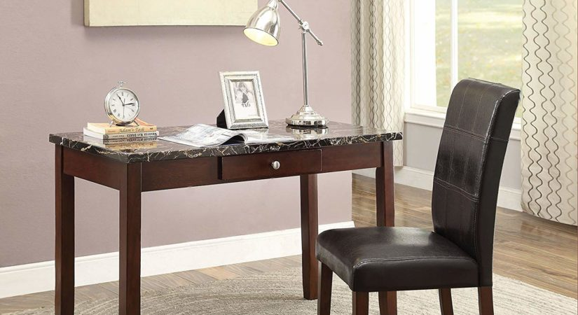 ACME Sydney Black Faux Marble and Dark Walnut Desk and Chair 2 Piece