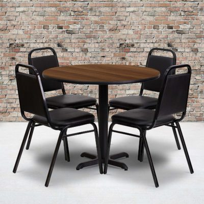 Flash Furniture 36 inch' Round Walnut Laminate Table Set with 4 Black Trapezoidal Back Banquet Chairs