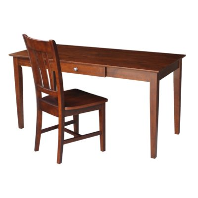 International Concepts Large Desk with Drawer and Chair, Espresso Finish