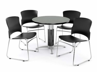 OFM Break Room Package - 36 inch Round Gray Nebula Table with 4 Black Seats (PKG-BRK-027)