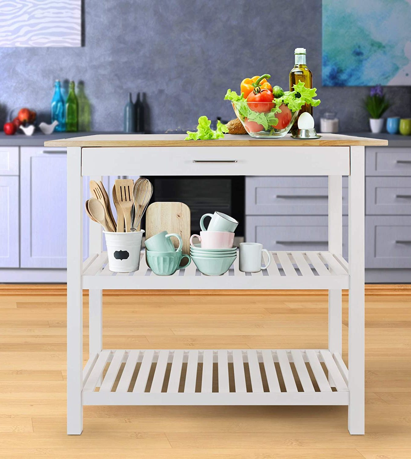 Casual Home Natural White Kitchen Island with Solid American Hardwood Top (373-91)