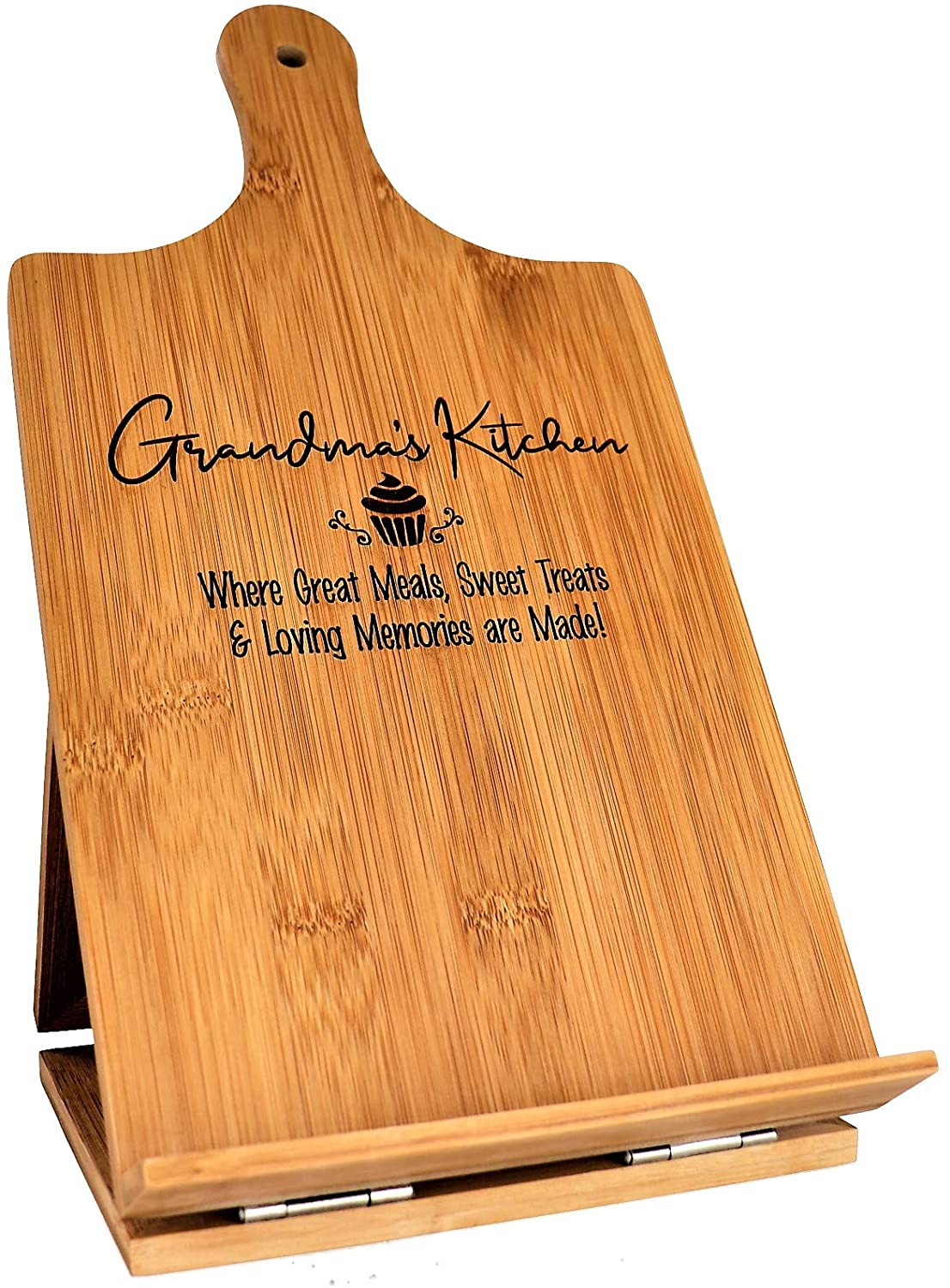 Engraved Bamboo Cutting Board and Cookbook Stand