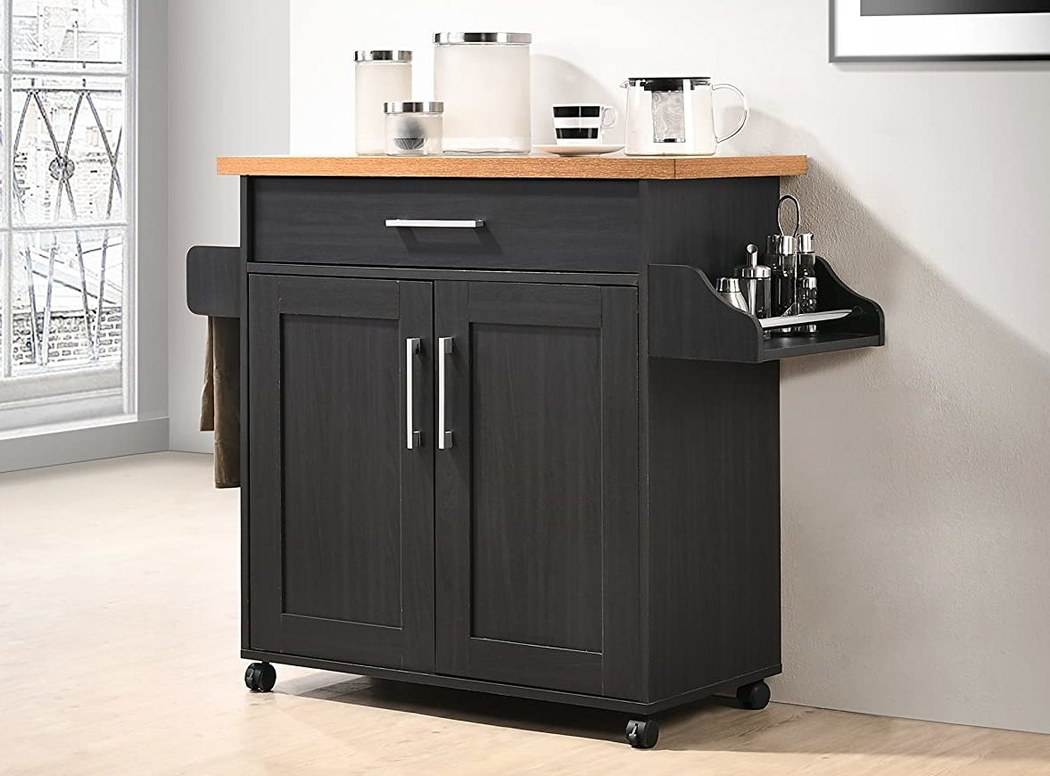 Hodedah Multi-Function Kitchen Island, Black with Beech Top