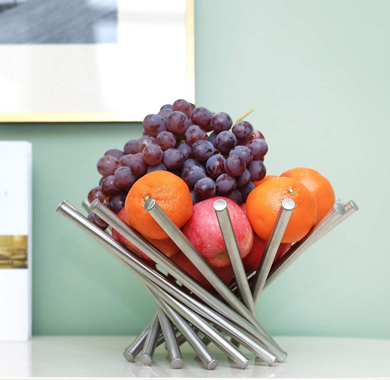 KQGO Stainless Steel Fruit Basket Bowl Holder (Silver)