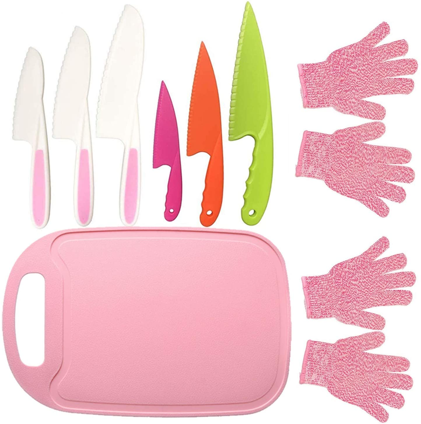 Kids Safe Knife Set with 2 Pair Cut Resistant Gloves (Ages 6-12) & Kids Cutting Board (9PCS, Pink)