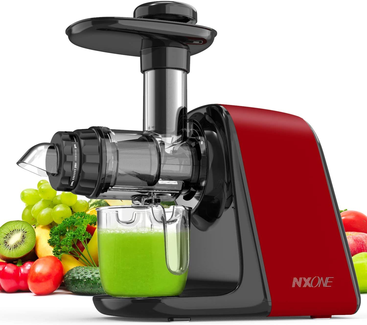 NXONE Slow Masticating Juicer (Cold Press Juicer Extractor, Red)