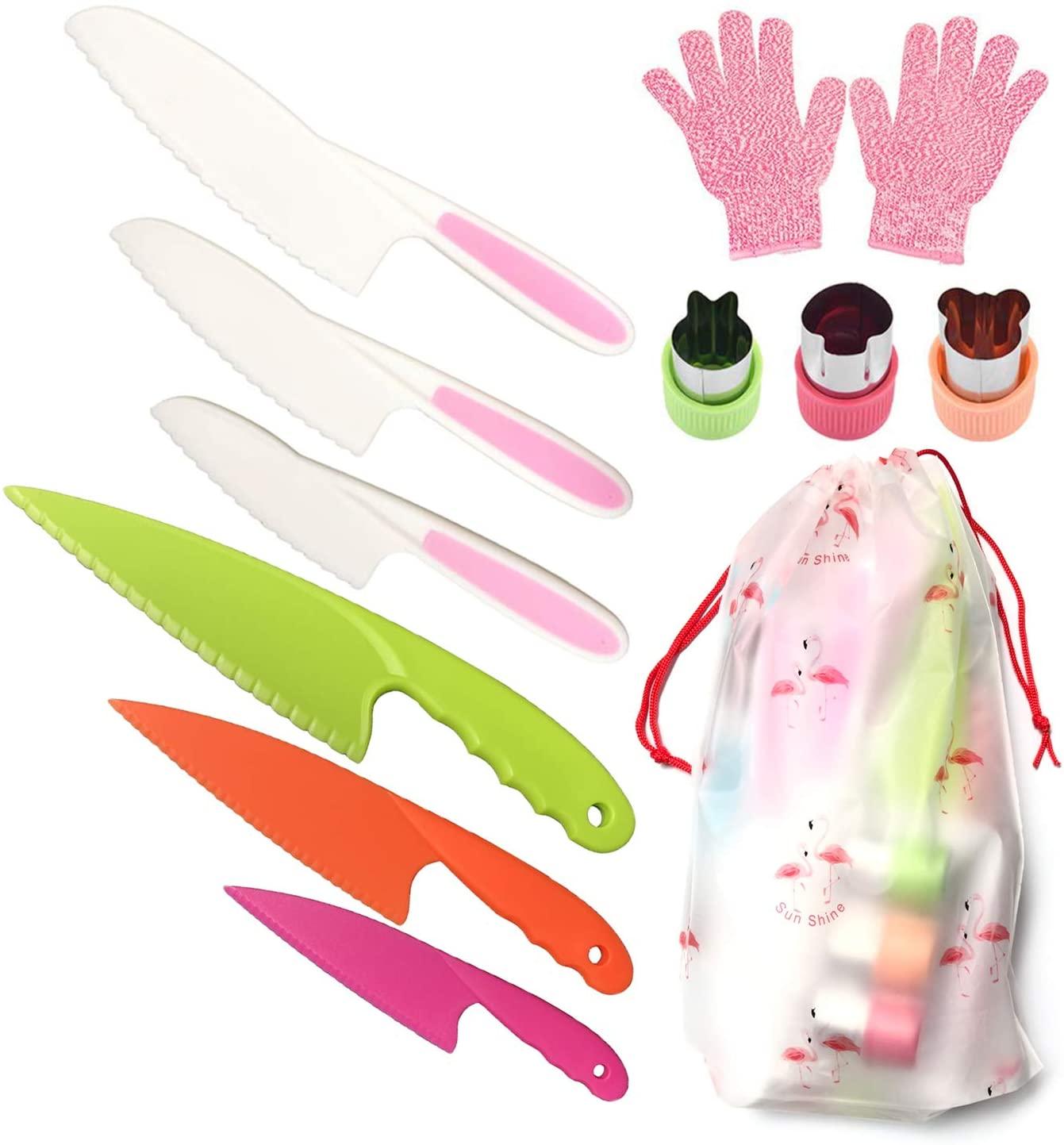 Pocomoco Kids Kitchen Knife Set Children Safe Cooking Plastic Knives Set (Ages 6-12)