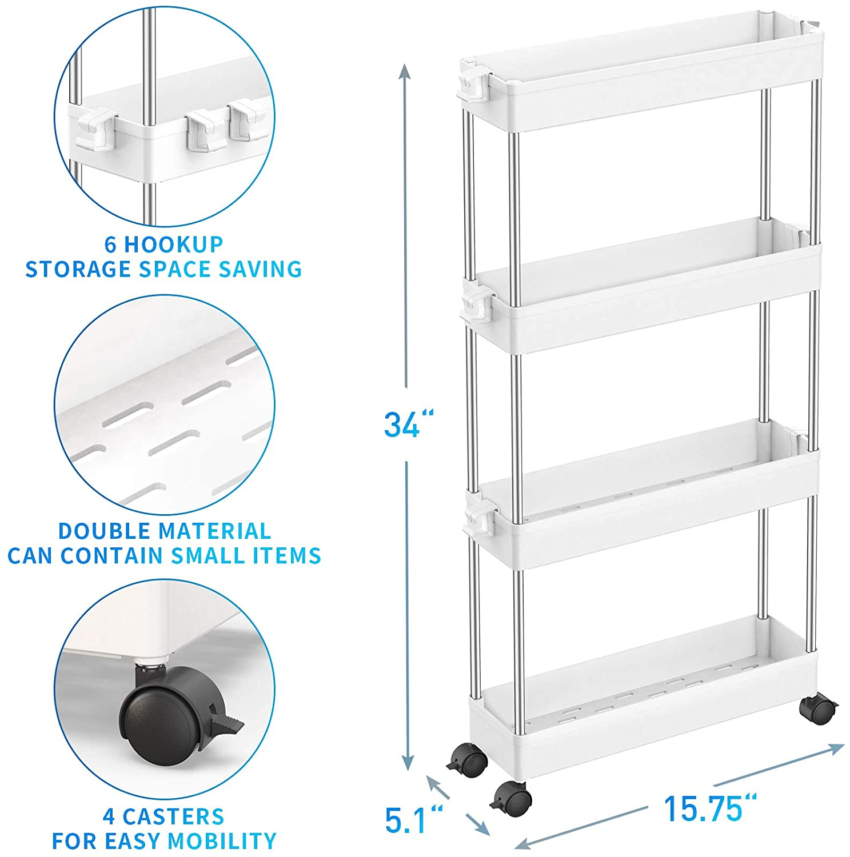 SPACEKEEPER 4 Tier White Slim Storage Cart Mobile Shelving Unit Organizer