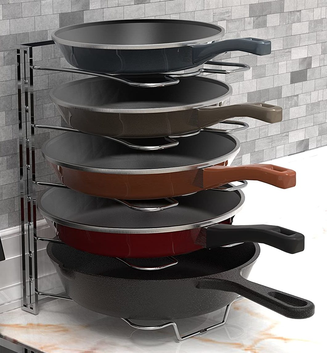 Simple Houseware 5 Adjustable Kitchen Cabinet Organizer Rack Holder for Pan and Pot Lid, Chrome
