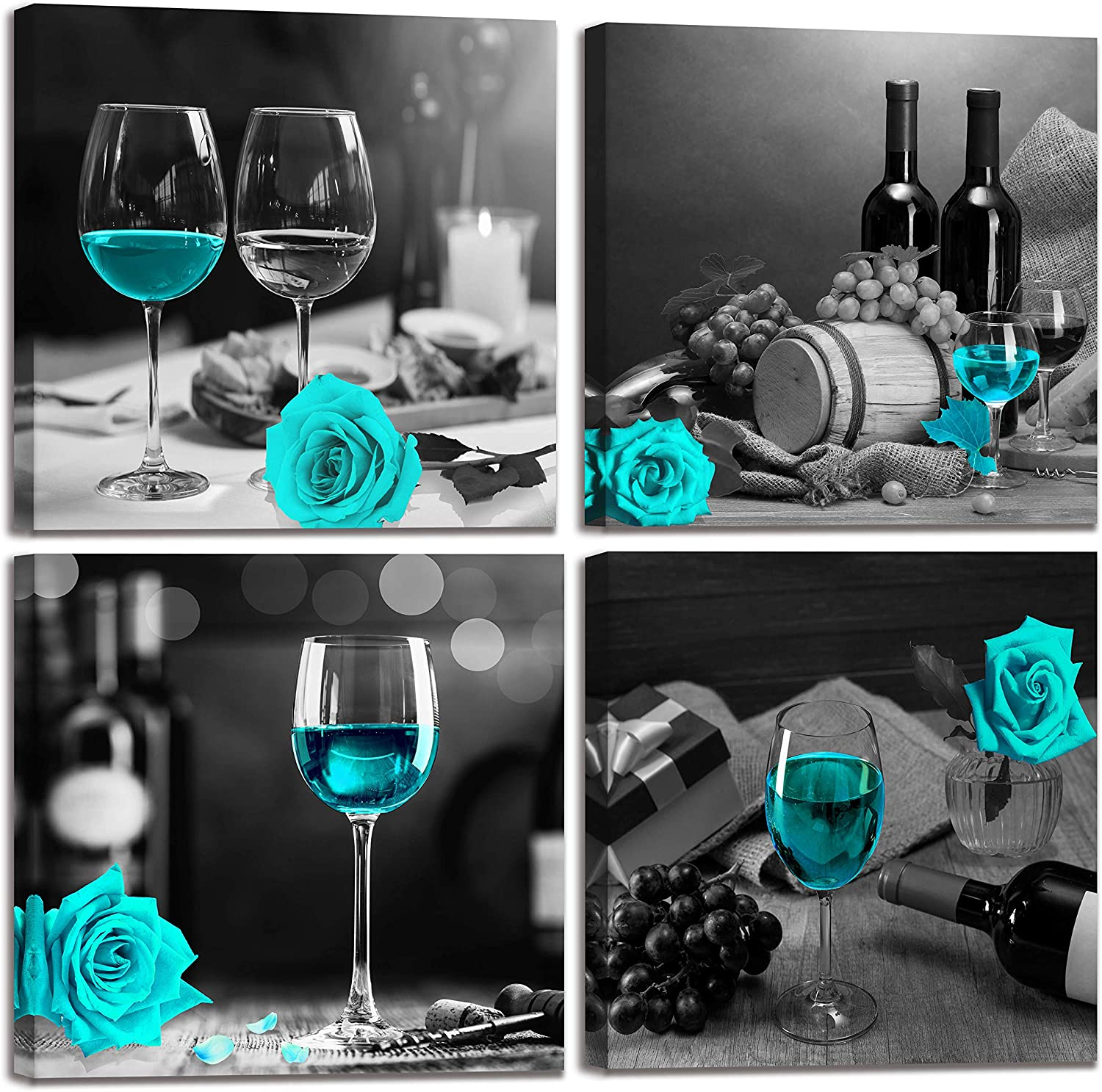 Teal Rose Artwork - Black And White Modern Kitchen Wall Art Decorations