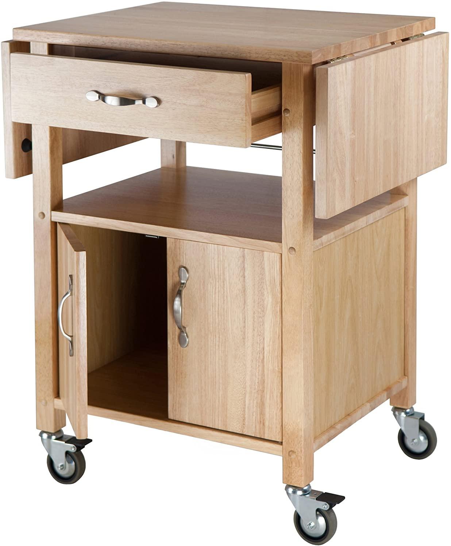 Winsome Drop-Leaf Wooden Kitchen Cart
