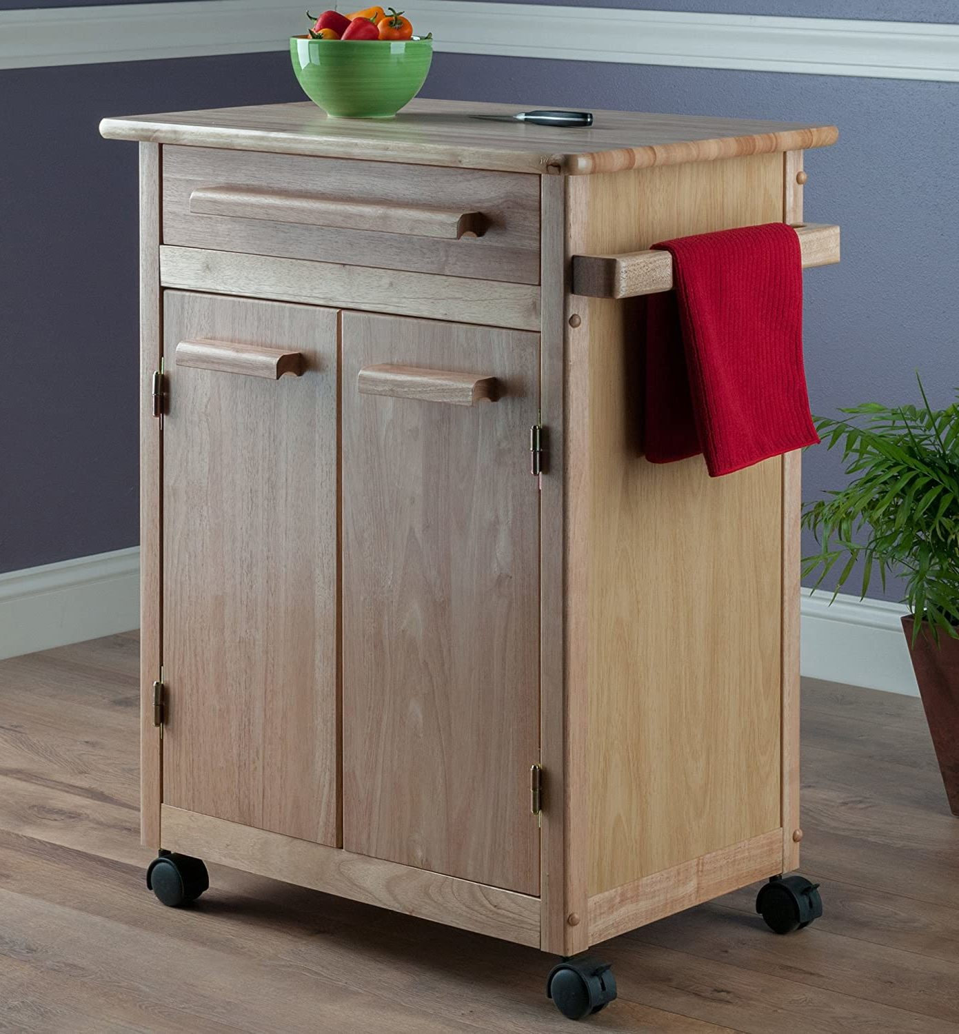 Winsome Natural Wood Kitchen Cabinet and Storage Cart (Single Drawer)